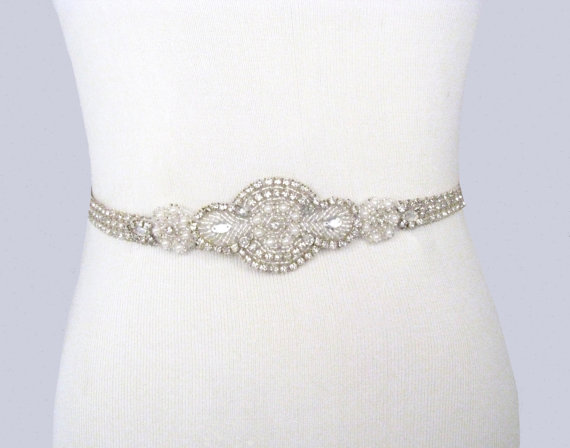 Bridal Sash Rhinestone Wedding Belt Crystal Pearl Dress