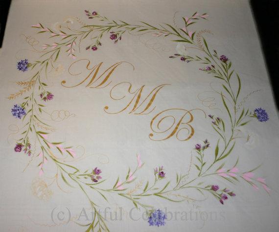 Mariage - Custom Wedding Aisle Runner,  Hand Painted, DEPOSIT for any length or design