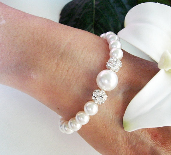 Chunky Pearls And Rhinestone Diamond Bracelet STERLING Silver