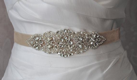 "Mariage - Crystal & Pearl Velvet Sash, Skinny Wedding Belt, Rhinestone Bridal Sash, 6"" of Rhinestones, Custom Colors - MOULANT AMELIE"