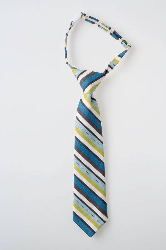 Mariage - Boys Tie - Blue and Green Stripes - Childs Necktie