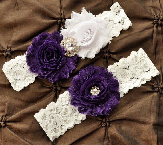 زفاف - Wedding Garter Set, Bridal Garter Set - White Lace Garter, Keepsake Garter, Toss Garter, Shabby Chiffon White Purple Wedding Garter Belt