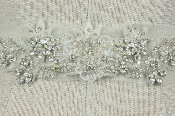 Свадьба - Bridal Applique, Beaded Wedding Trim, Floral Organza Rhinestone & Crystal Vintage Ivory Flower Belts and Sashes, Camilla Christine, VICTORIA