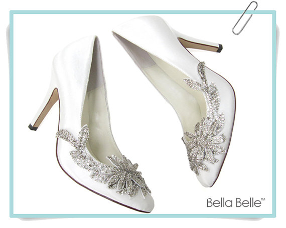 Свадьба - White Embellished Wedding Shoes with Vine Crystal Applique Beading,  Bella Belle DAWN Satin Bridal Pumps