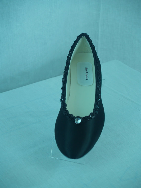 Свадьба - Wedding Flats Shoes Black Satin dressy comfortable