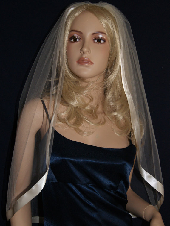 """Mariage - Wedding Veil Fingertip Red Purple Black Silver White Pink Ivory Beige White Single Tier 54' Width 35"""" length Wide satin ribbon 15 colors"""
