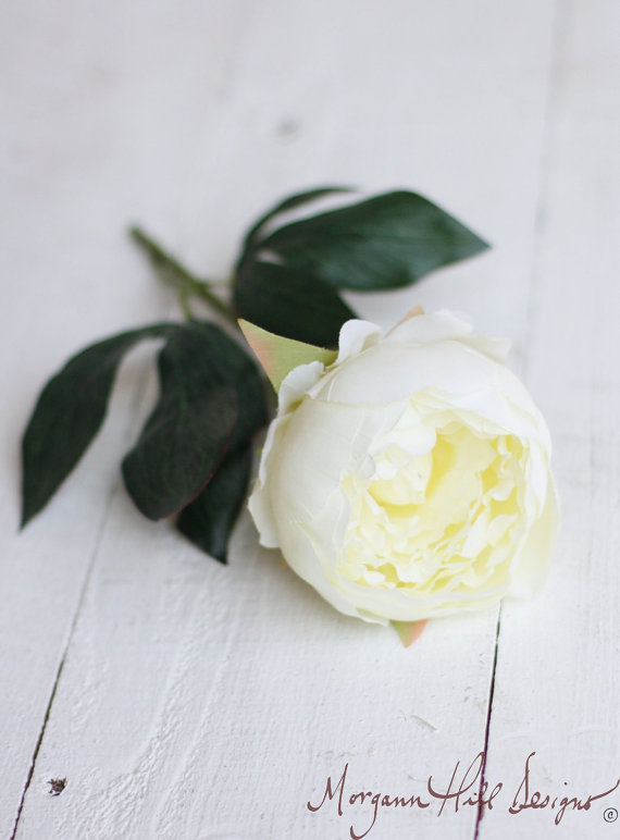 زفاف - Cream Peony Peonies Silk Flower DIY Wedding Bouquet (Item Number 140046)