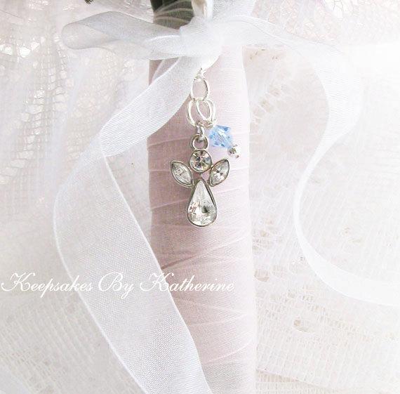 Wedding - Crystal Guardian Angel Bouquet Charm, Crystal Angel Wedding Keepsake