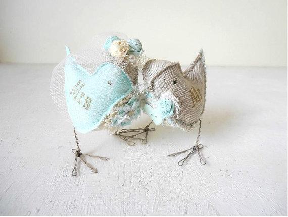 Свадьба - Love Birds Mint Green Wedding Cake Topper Bride and Groom rustic Mr&Mrs linen fabric figurines Ready to ship