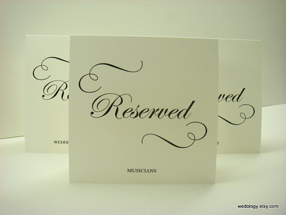 Свадьба - Reserved Seating Wedding Sign Tent Design with Elegant Swirls and Script Font Prepared with Your Custom Wording for your Wedding Reception