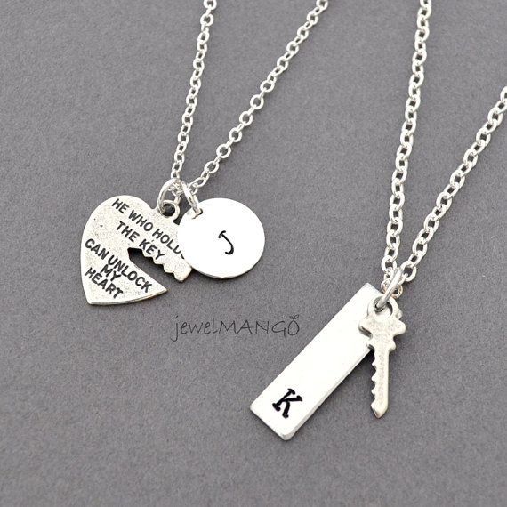Свадьба - key to my heart, COUPLE necklace, mr. mrs.,hand stamping jewelry, His and Hers, Girl friend, Boy friend, Husband and Wife, wedding, bride