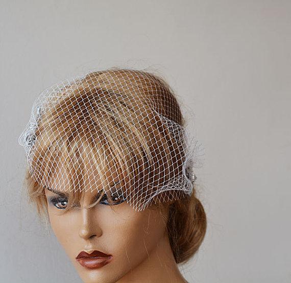 Свадьба - Wedding Hair Accessory, Bridal Veil, Bandeau Birdcage Veil, Off White Bird Cage Veil, Bridal Hair Accessories