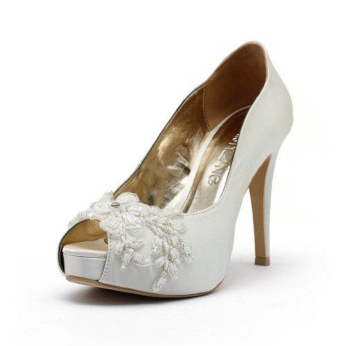 Hochzeit - Lovers Paradise, Ivory White Wedding Shoes,Ivory White Bridal Heels,Ivory White Satin Beaded Lace Wedding Shoes,Ivory White Lace Bridal Heel