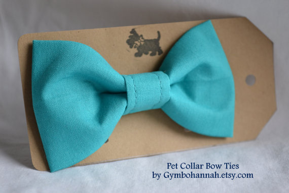 Свадьба - Teal Blue Bow Tie for dogs or cats Pet collar bowties weddings photography pet fashion