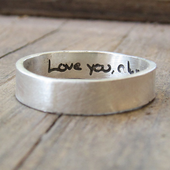 Свадьба - Personalized Ring - ACTUAL Handwriting Jewelry - Engraved Silver Wedding Band - Memorial Jewelry