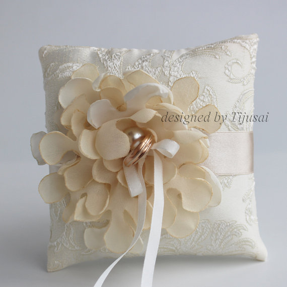 Wedding Pillow With Ivory Curly Flower wedding Rings Pillow