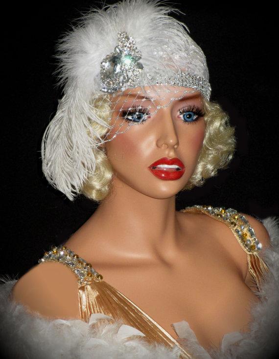 زفاف - OLD HOLLYWOOD 20's Bridal Hat, Juliet Flapper Cap, Lace Flapper Hat, White Lace Gatsby Bridal Hat, Gatsby Hat With Silver French Veil