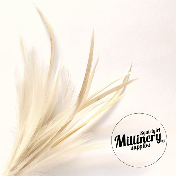 Свадьба - Goose Biot & Hackle Feather Hat Mount Trim for Fascinators, Wedding Bouquets and Hat Making Ivory
