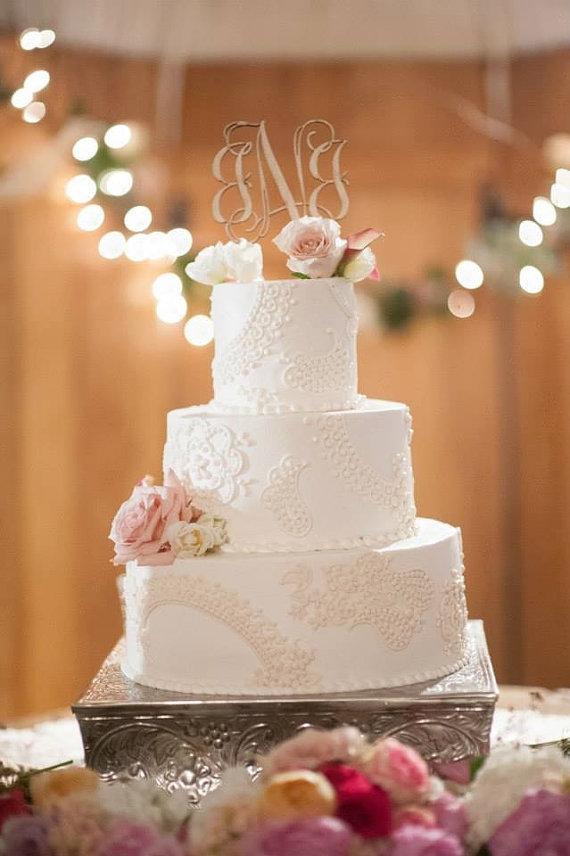 monogram wedding cake topper 5 wood script with spikes unfinished 2214572 weddbook. Black Bedroom Furniture Sets. Home Design Ideas