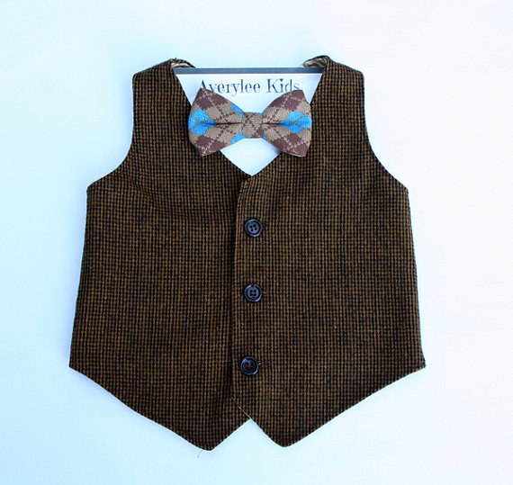 Hochzeit - Boys Brown Tweed Vest, Brown Vest for Boy's, Baby Vest, Toddler Vest, Teen Vest, Wedding Ring Bearer, Vintage Wedding Vest