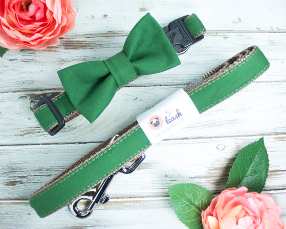 Свадьба - Dog Bow Tie In Forest Green With Options For Dog Collar, Dog Leash I Dog and Bow