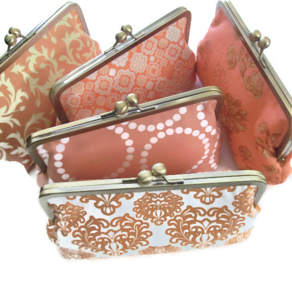 Свадьба - Clutch for Bridesmaid - Peach - Wedding Party Gift - You Design Customize Your Cutiegirlie clutch with your choice of fabrics
