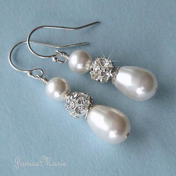 Mariage - Wedding Earrings - Rhinestone Fireball and Teardrop Pearl Earrings in White or Ivory - Crystal and Pearl Bridal Jewelry - Wedding Jewelry