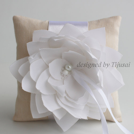 Mariage - Beige stripy  Wedding pillow with white Lily flower  ---ring bearer pillow, wedding rings pillow , wedding pillow