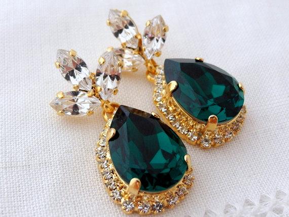 Emerald Green Chandelier Earrings Drop Bridal Dark Dangle Weddings Jewelry Halo Swarovski Earring
