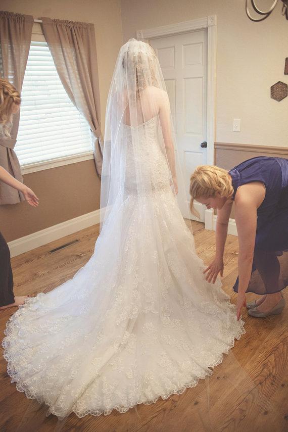 Mariage - Wedding Long veil cathedral bridal veil chapel soft veil