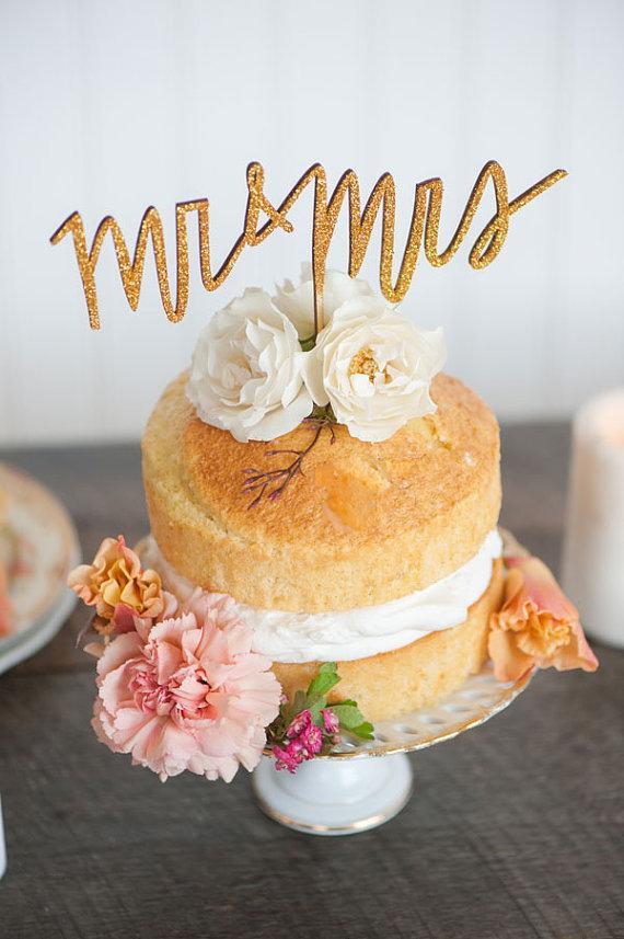 زفاف - MR and MRS wedding cake topper in gold, silver or champagne glitter