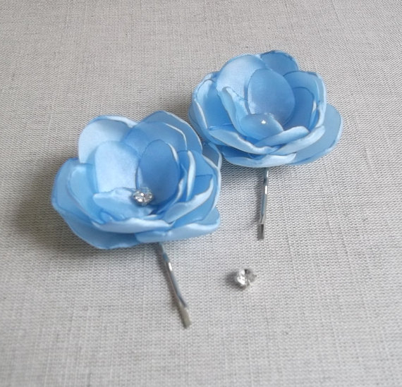 Wedding - Small light Pale Pastel Blue fabric flowers in handmade Bridal Haii Shoe Clip Dress Sash Ornament Bridesmaids Flower Girls Accessory Wedding