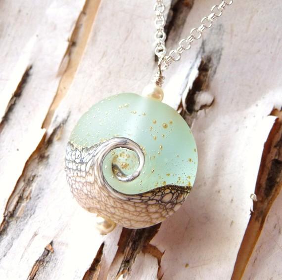 Hochzeit - Ocean Wave Lampwork Necklace, Beach Wedding, Lampwork Jewelry, Ocean Pendant, Gift, Beach Jewelry, Wave Pendant