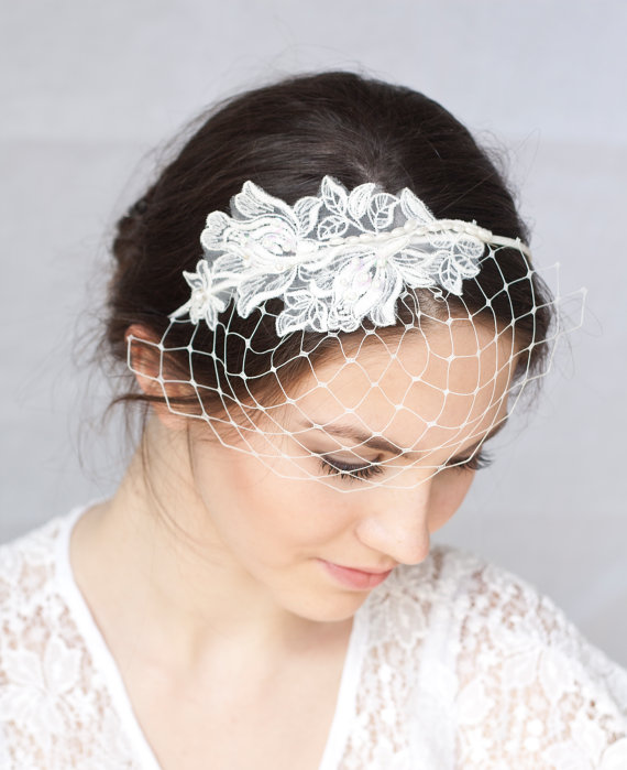 Bridal Ivory Birdcage Veil With Lace Wedding Headband