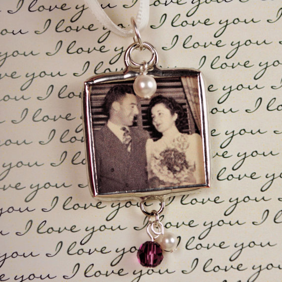 زفاف - Vintage Style Wedding Bouquet Charm Memorial Photo Charm