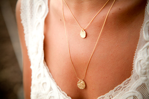 Wedding - Two Tier Gold Necklace,personalized, Elegant,monogrammed, Unique Bridal Jewelry, 18k Gold Plated