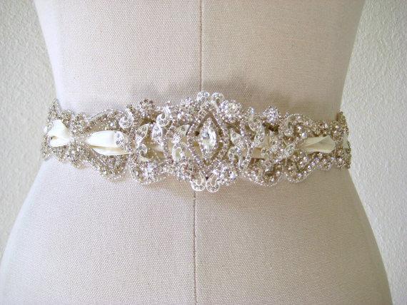 Свадьба - Bridal wedding beaded crystal sash/belt, laced ribbon with exquisite jewel center piece  ROMANTICIZM.