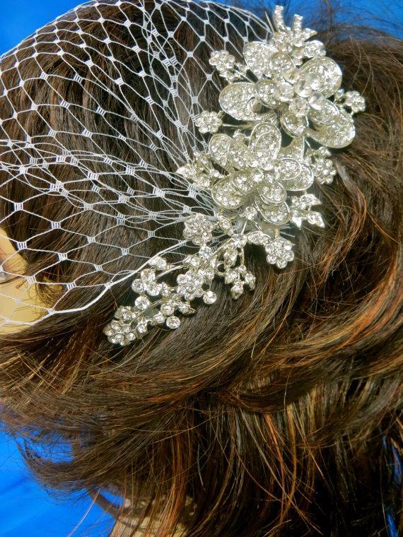 Mariage - Bandeau Blusher  Veil, Wedding  Veil, Birdcage Rhinestone Veil