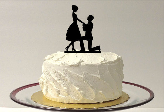 Свадьба - On Bended Knee Silhouette Wedding Cake Topper Bride and Groom Silhouette Wedding Cake Topper Bride and Groom Cake Topper