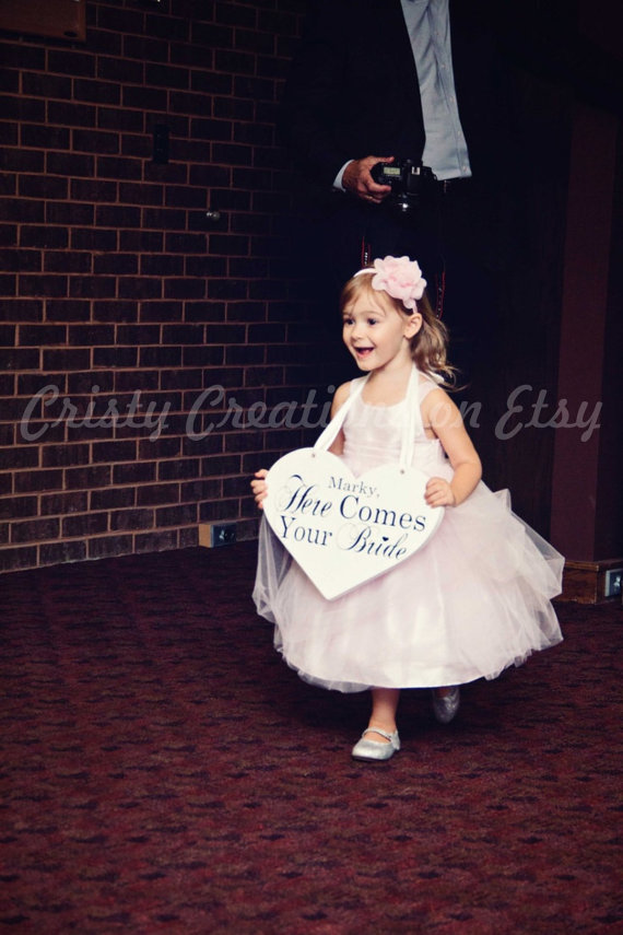 """Wedding - Wedding Heart Sign - Personalized """"Here Comes Your Bride"""" Heart Sign"""