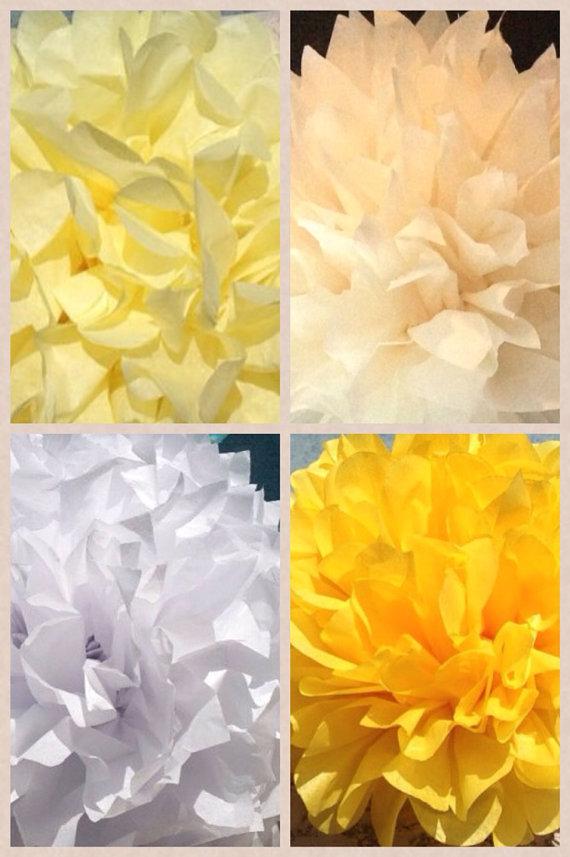 Свадьба - Bride to Be - 40 Tissue Paper Poms// Baby Shower, Birthday, Wedding, Bridal Shower, Nursery Decor, Reception, Ceremony, Yellow