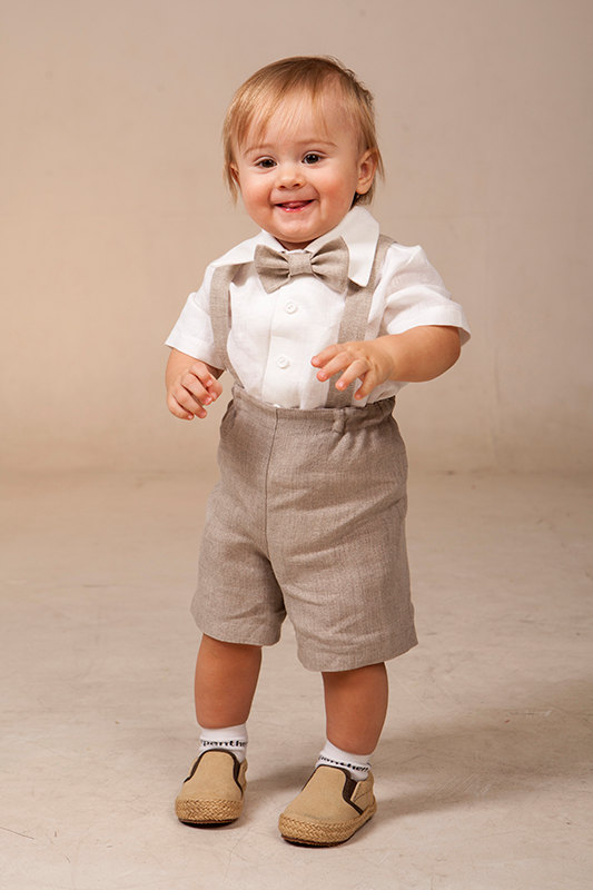 Baby Boy Linen Suit Ring Bearer Outfit SET Of 4 First Birthday ...