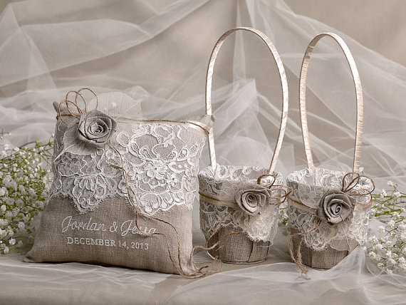 Mariage - Flower Girl Basket & Ring Bearer Pillow Set, Shabby Chic Natural Linen Burlap , Embriodery Names