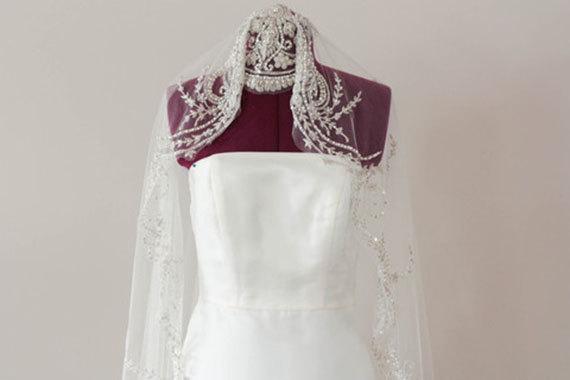 Mariage - Bridal Silk Veil - Art Deco