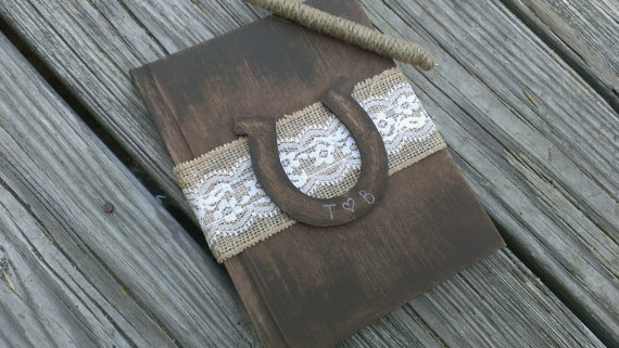 Rustic Horse Shoe Wedding Guest Book Fall Autumn Country Burlap Shabby Chic
