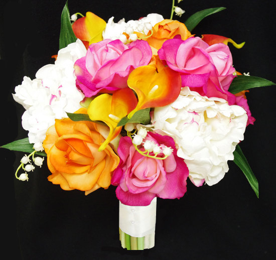 Wedding - Silk Peonies, Callas and Roses Wedding Bouquet  - Orange and Fuchsia Natural Touch Flower Bride Bouquet - Almost Fresh