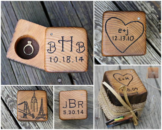 Wood Ring Box Rustic Wedding Personalized Bearer Holder Unique Engagement Case