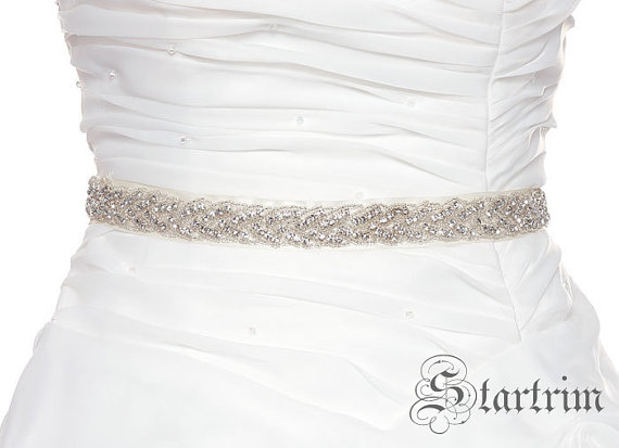 Mariage - SALE Sharon Wedding Belt, Bridal Belt, Sash Belt, Crystal Rhinestones & Pearls