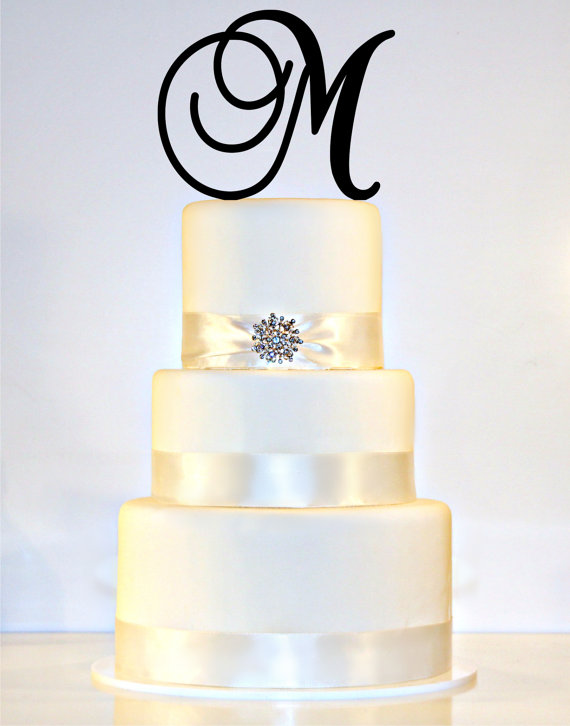 "Mariage - 6"" Monogram Wedding Cake Topper in Any Letter A B C D E F G H I J K L M N O P Q R S T U V W X Y Z"