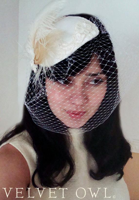 Mariage - Bridal couture cocktail hat veil with detachable fascinator - MARILYN